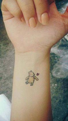 Small Minimal Winnie the Pooh Butterfly Wrist Tattoo Ideas for Women - ideas de tatuaje de muñeca Butterfly Wrist Tattoo, Tiny Wrist Tattoos, Wrist Tattoos For Women, Tattoos For Women Small, Small Tattoos, Tattoos For Guys, Unique Wrist Tattoos, Henna Tattoo Designs, Small Tattoo Designs