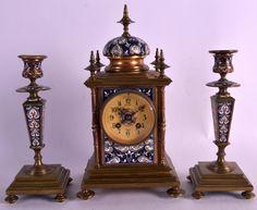 A 19TH CENTURY FRENCH CHAMPLEVE ENAMEL CLOCK GARNITURE. #AntiqueClocks #victorian #Clocks #Antique #mechanical #gosstudio  .  ★ We recommend Gift Shop: http://www.zazzle.com/vintagestylestudio ★
