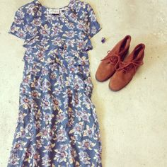 90's floral midi + vintage ankle booties and 70's chunky ring