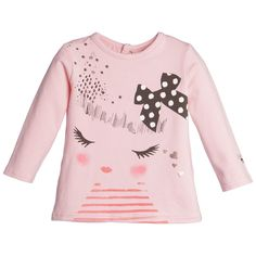 Girls Pink T-Shirt with Girl Face , Catimini, Girl