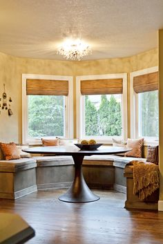 woven wood shades for bay window