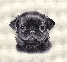 BLACK PUG dog, puppy ~ Full counted cross stitch kit, all materials included in Collectables, Animals, Dogs | eBay!