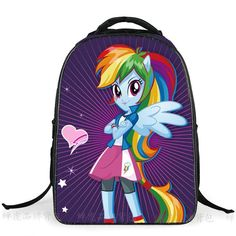 Girl's My Little Pony Large-Capacity Lightweight Good Quality Nylon Backpack 6 Designs