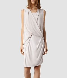 $230.00 Womens Abi Dress (Stone) | ALLSAINTS