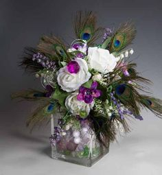 pictures of peacock florial arrangements | Package of 2 pieces 6 to 8 inches long 2 1/2 inches wide