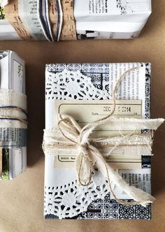 Doily gift wrap.