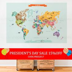 President's Day Sale - World Map Decal, Countries of the World Map, Kids Country World Map Poster,  Peel and Stick  Poster Sticker, World...