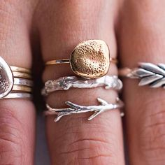 The sticks and stones ring set includes our sterling silver twig ring, a sterling silver branch ring and our bronze and gold river rock ring. Jewelry Box, Jewelry Accessories, Fashion Accessories, Fashion Jewelry, Jewlery, Fashion Rings, Nail Fashion, Opal Jewelry, Etsy Jewelry
