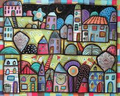 Night Town CANVAS Houses Flowers Clock Moon PAINTING 20x16 FOLK ART Karla G.. brand new painting, mixed media with collaged papers and acrylic paint, ready to hang...lots of work time in this one...#FolkArtAbstractPrimitive