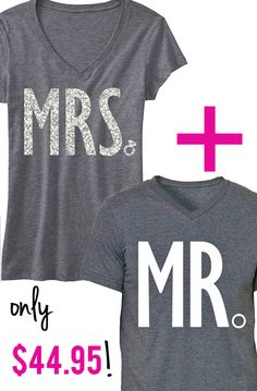 I Love these shirts for the #Bride & #Groom! MRS Glitter V-neck + MR shirt. Perfect for the #Honeymoon plane Ride! Only $44.95, click here to buy http://nobullwoman-apparel.com/collections/sale-special-deals/products/mrs-bride-shirt-mr-groom-shirt-special-deal