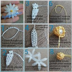 This Pin was discovered by hül Crochet Flower Tutorial, Crochet Flower Patterns, Tatting Patterns, Crochet Motif, Crochet Flowers, Crochet Stitches, Love Decorations, Brazilian Embroidery, Needle Lace