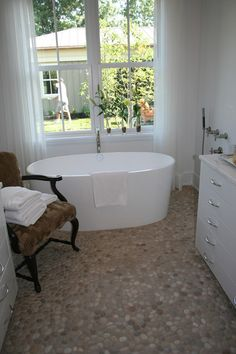 cobblestone bathroom floor