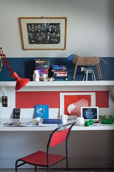 Desk area: paint colors from farrow&ball: stiffkey blue blackened and blazer Kids Bedroom Paint, Blue Bedroom Decor, Bedroom Ideas, Bedroom Inspiration, Girls Bedroom, Boys Room Colors, Room Swing, Stiffkey Blue, Old Room