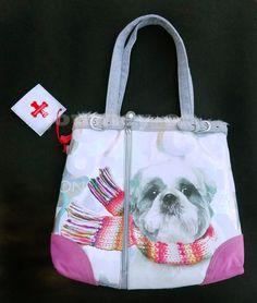 NWT Fuzzynation Shih Tzu Tote Bag Dog Print Purse Fuzzy Nation Furry Inside #FuzzyNation #TotesShoppers
