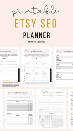 Business Planner, Business Tips, Etsy Seo, Business Plan Template, Etsy Business, Online Business, Competitor Analysis, Blog Planner, Rose Design