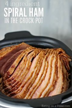 Crock pot Ham Recipe is easy to make. Slow cooker ham is perfect for the holidays and frees up your oven. Try this crock pot spiral ham today! #crockpot #ham