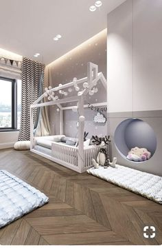 Toddler bed setup Kids room doesn't need to be full of toys and mess.