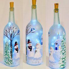 Winter Wedding Lighted Bottle, Snowman Wedding Painted Bottle, Our First Christmas Kornelia Bielmeier Liquor Bottle Crafts, Wine Bottle Art, Painted Wine Bottles, Lighted Wine Bottles, Diy Bottle, Vodka Bottle, Large Bottle Of Wine, Painting On Glass Bottles, Wine Bottles For Sale