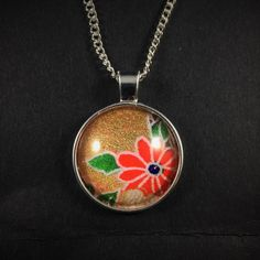 Japanese Washi Glass Cabochon Pendant Silver Necklace Pink Gold Flowers by ManabizzleCreations on Etsy