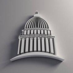 3D Capitol white logo Stock Photo