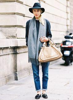 The New Way Everyone Is Wearing Their Scarf via @WhoWhatWear