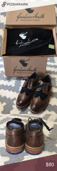 Goodwin Smith Men's dress shoes New in box. Never worn. Beautiful derby brogue shoe- brown leather and black suede men's dress shoes. Comes with extra laces. Leather outer and cushioned Insole. Dust bags and original box included. goodwin smith Shoes Oxfords & Derbys