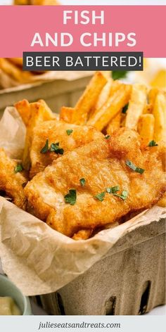 Quick and easy Beer Battered Fish and Chips is a delicious dinner just like you get at a restaurant. Perfectly golden brown and crispy fish fillets and French Fries or chips! Make this for dinner… More Shrimp And Lobster, Fish And Seafood, Fish Recipes, Seafood Recipes, Recipies, Easy Dinner Recipes, Easy Meals, Beer Battered Fish, American Dishes