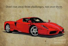 Ferrari Red Classic Car And Enzo Ferrari Quote, Vintage Brown Background Drawing by Pablo Franchi
