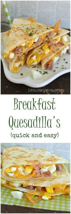A breakfast quesadilla is what my kids get for breakfast as they are running out the door! Thank goodness they are so quick to throw together! Little Dairy on the Prairie