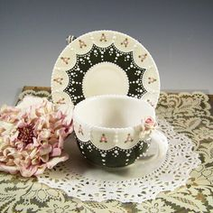 Rich Green Lace Cup & Saucer by RomancingTheTeapot on Etsy, $29.95