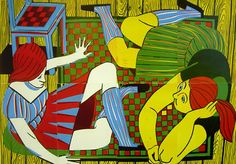 Untitled (woman 2), 2006, linocut on paper, 200 x 270 cm - Christoph Ruckhäberle