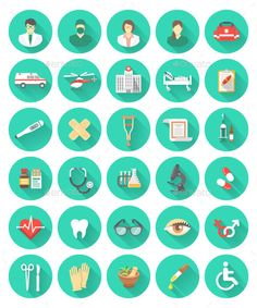 Buy Flat Medical and Healthcare Icons by vectorikart on GraphicRiver. Set of vector flat icons related to the subject of medicine, first aid, transportation of a patient, health care, ins. Medical Icon, Flat Icons, First Aid Kit, Herbal Medicine, Icon Design, Vectors, Herbalism, Health Care, Flats