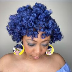 I achieved this big, bouncy, blue PermRod Set using the Curl Awaken Primer and Vegan Temporary Hair Color Gel in the color Cobalt from @gemininaturals Go to my IGTV or see previous post to see how I achieved these beautiful curls on an old TwistOut!!! Another Black Owned Business you should support! | Discount Code:msteach1225 | Earrings by another black owned female owned company @naturally_unique_by_sos  #gemininaturals #gemsquad #get_hued #temporaryhaircolor #bluehairdontcare #permrodset #nat Perm Rod Set, Temporary Hair Color, Twist Outs, Blue Hair, Cobalt, Curls, Crochet Earrings, Vegan, Female