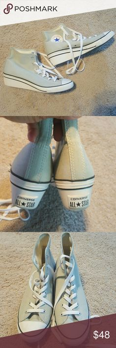 Converse All Star Grey with wedge heel in good condition like new very cute!! Converse Shoes Sneakers