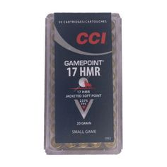 CCI .17HMR 20gr Gamepoint JSP will help eliminate varmint problems with ease.
