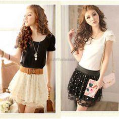 Chiffon high waist polka dot lace pompon skirt dress