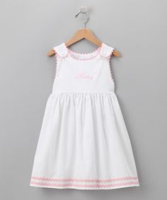 White & Pink Personalized Jumper - Infant & Toddler