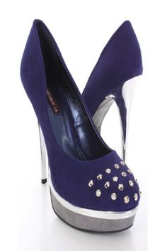Navy Faux Suede Studded Front Detail Mirrored Sexy Heels.  $14.99