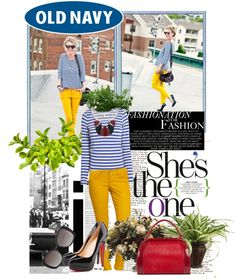 """Love the yellow pants! """"Fit for a Rockstar with Old Navy"""" by sunshine26851 on Polyvore"""