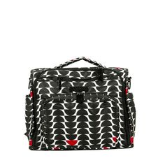 Jujube Black Onyx Collection Black Widow BFF. Use it as a diaper bag, carry baby gear while traveling, or simply a mom purse! Modern and chic with black, white and red trim. #jujube