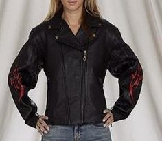 Women's Leather Motorcycle Jacket with Flames & Insulated Zip Out Lining, Womens Leather Jackets Available in all sizes, Size : 3XL, XXX-Large, 16 to 18 | Fashion World