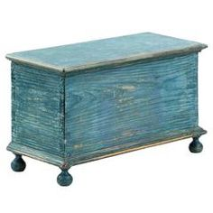 American Blue Painted Miniature Antique Chest Box, Pennsylvania, circa 1830