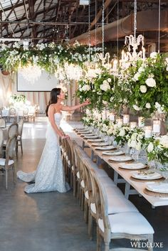 Cody And Allies Stunning Evergreen Brickworks Wedding - Wedding Decor Toronto Rachel A. Industrial Wedding Venues, Luxury Wedding Venues, Wedding Destinations, Wedding Reception Decorations, Wedding Ceremony, Long Wedding Tables, Ballroom Wedding Reception, Tall Wedding Centerpieces, Tent Wedding