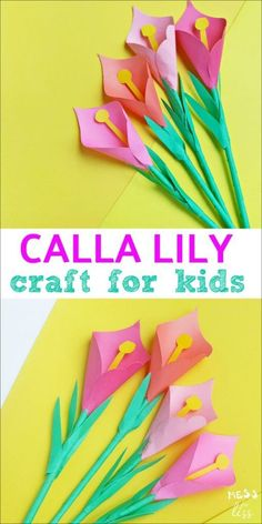 There are so many cool crafts you can make with paper, and this Calla Lily Craft for Kids is one of my favorites. It is great for older kids, who may think of other crafts as being too 'babyish'… Mothers Day Crafts For Kids, Spring Crafts For Kids, Paper Crafts For Kids, Craft Activities For Kids, Summer Crafts, Preschool Crafts, Fun Crafts, Art For Kids, Craft Ideas