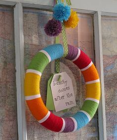 Rainbow yarn wreath - a great base for a summer wreath