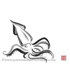 Squid - sumi-e by SayuriMVRomei.deviantart.com on @deviantART