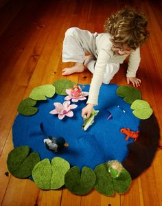 Special Listing- Custom order for Allison -Wet Felted Lily Pond Playmat with Figure set