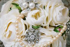 vintage jewelry and pearls take an ordinary bouquet to a whole new level
