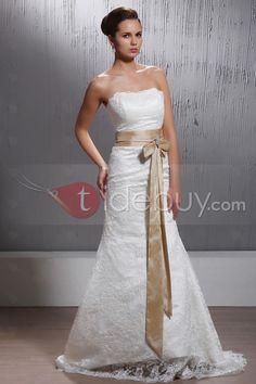 Amazing Trumpet/Mermaid Floor-length Court Strapless Lace Veronika's Wedding Dress