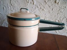 Vintage 1930s Graniteware Cream And Green Double Boiler Cooking Pan